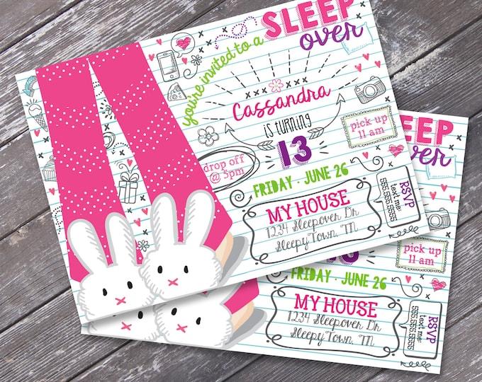 Sleepover Party Invitation - Slumber Party, Pajama Party, Donuts & Pajamas - DIY Editable Text Instant Download PDF Printable
