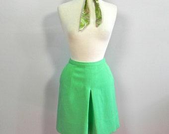 Vintage 1960s Green Mod Skorts / 60s Mini Skirt Skorts Shorts Size Sm Med