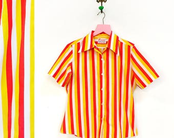 Vintage 1960s Ketchup/ Mustard Horizontal Stripe Button Up Mens Size S By Jacmar
