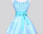 Flirty Chic / Womens Retro Apron in Aqua Stripes and Polka Dot Vintage Style Pin Up Kitchen Cooking Apron