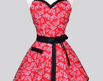 Sweetheart Pin Up Womans Apron - Black and Red Butterflies Cute and Flirty Retro Vintage Style 50s Kitchen Apron to Embroider Monogram