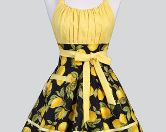 Flirty Chic Apron - Black and Yellow Farmers Market Lemons Womens Retro Vintage Style Pin Up Kitchen Cooking Woman Apron with Pockets