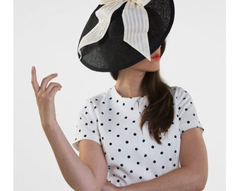 Audrey - Black brimmed hat with ivory bow