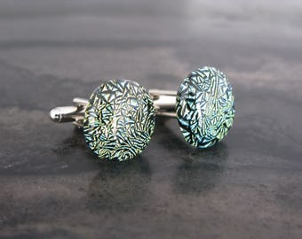 Glass Cufflinks - Crackle green