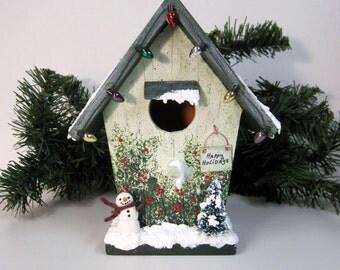 Christmas Mini Birdhouse with Lights