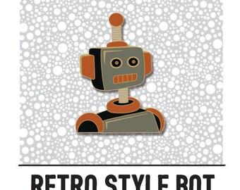 Retro Robot Hard Enamel Pin PRE-ORDER