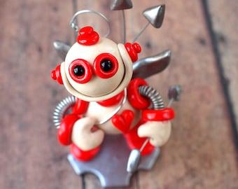 Robot Cupid White Wyatt Valentine's Day Geeky Mini Robot Sculpture - Clay, Wire, Paint