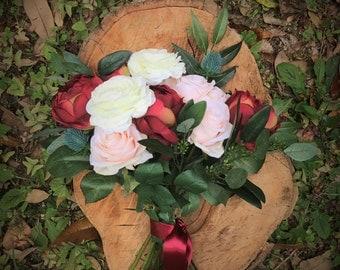 Custom artificial silk wedding flower package in your event colors, keepsake wedding bouquet, wedding set, wedding flowers sale