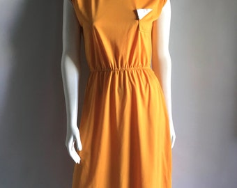 Vintage Women's 80's Yellow-Orange Dress, Sleeveless, Knee Length by Timely Trends (M)