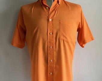 Vintage Men's 70's Orange, Button Down Shirt, Short Sleeve (L)