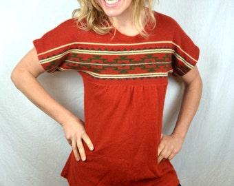 Vintage 1970s Acrylic Geometric Southwest Knit Tunic Top