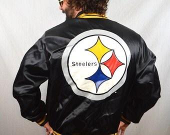Vintage 80s Pittsburgh Steelers NFL Satin Jacket Coat