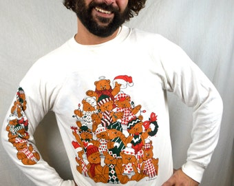 Vintage  1990s 90s Teddy Bear XMAS Christmas Holiday Sweatshirt