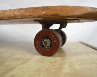 Vintage 1960s 60s Skateboard Deluxe #20 - Roller Derby Wood Wooden Skateboard