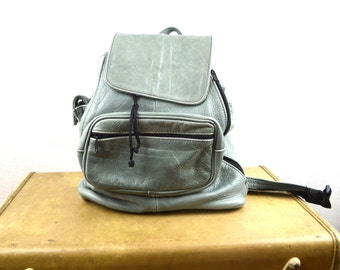 Vintage 90s Leather Backpack Gray Rucksack
