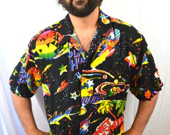 Vintage 90s Planet Hollywood Rainbow Neon Button Up Party Shirt