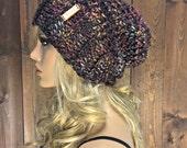 Crochet Slouchy Hat Beanie Toque / SHANTI / Midnight Vibe