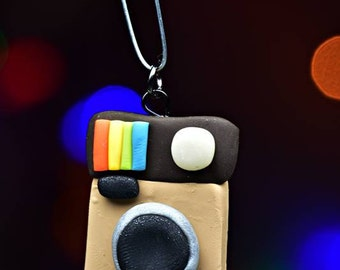 Instagram Camera Ornament, Charm, Brooch, Necklace or Keychain, your choice. Hand sculpted from Polymer Clay, Camera Charm, Camera Ornament