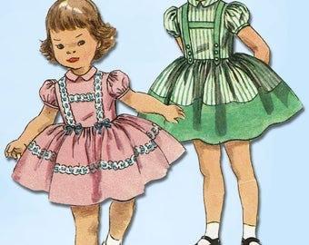 1950s Vintage Simplicity Sewing Pattern 1744 Sweet Toddler Girls Dress Size 1