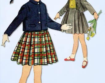 1950s Vintage Simplicity Sewing Pattern 4236 Toddler 3 Piece Girls Suit Size 3