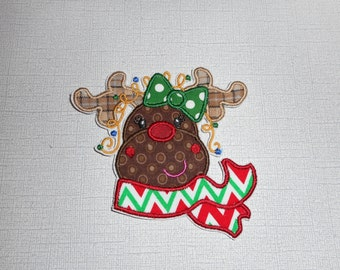 Free Shipping Ready to Ship  Christmas  reindeer    Machine Embroidery Iron on applique
