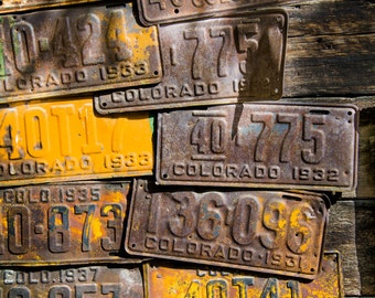 Colorado License Plates art Rustic decor Crested Butte art brown yellow vertical cabin wall art log home livingroom lifestyle photo