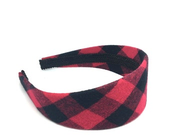 Wide Buffalo Plaid Checkered in Red and Black - Girls Headbands, Adult Headbands, Preppy Plaid for Winter