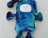 Luna Bunny - Dyed Organic Bamboo Velour - Celestial Galaxy Dye with Fabric Paint Stars - Bunny Pillow Plush - Hand Drawn Face