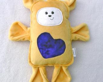 Peanut Butter and Jelly Bear - Stuffed Bear Pillow Plush - Hand Drawn Face - Spoonflower Cotton - Golden Yellow Purple - Grape Jelly Belly