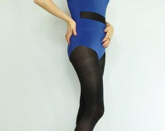 Blue black leotard Mesh panel bodysuit Cobalt bodysuit Blue lycra body Contrast leotard 80s leotard 80s bodysuit Blue black body