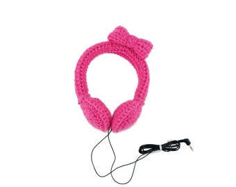 Hot Pink Bow Headphones