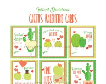 Cactus Valentines Day Cards, Succulant, Love, Instant Download Cards, Kids Valentines,  Valentines Cards, Punny Cards