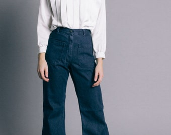 Vintage 70s Dark Denim Worker Flared Jeans   2
