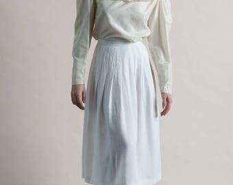 Vintage 80s White Linen Pleated Midi Skirt / XS Small Full Skirt
