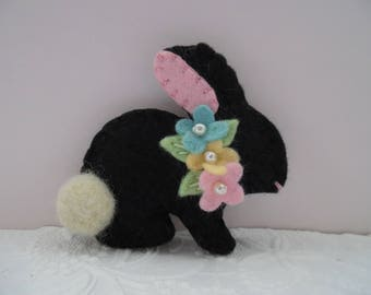 Easter Brooch Felt Bunny Spring Beaded Flowers Wool Rabbit Pin