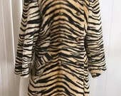 Gorgeous Vintage Safari Tiger Faux Fur Coat Size L -- 1950's 1960's