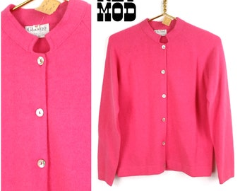 NEW with TAGS - Vintage 50s 60s Bright Coral Pink Angora Wool Blend Cardigan Sweater!
