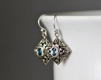 Blue Topaz Earrings - Bali Silver Earrings - Blue Topaz Jewelry - December Birthstone - Silver Filigree Earrings - Silver Charm Earrings