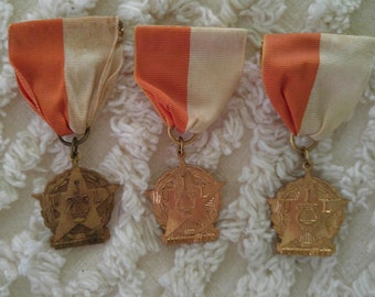 Vintage band medals, marching band, UIL Regional Meet medals, high school music awards, band geek prize,  band medal with ribbon pin lapel