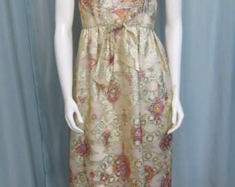 Alice of California Dazzling 1960's Designer Metallic Chiffon Brocade Maxi dress size S