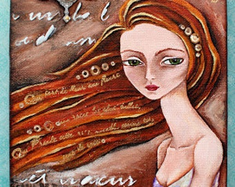 Time Flies - 6x9 Original Painting Mixed media acrylic canvas acrylic pop surrealism lowbrow fantasy whimsical OOAK