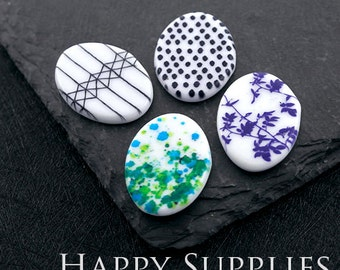 2pcs 22x30mm Oval Handmade Photo Ceramic / Porcelain Pendants / Charms (CPH29-32) - High Quality No Scratch Guarantee
