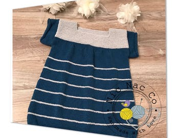 Dress spring/summer, cute, 100% cotton, striped blue and grey, knitted by hand, size 6 years