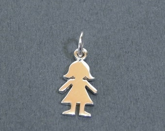 Tiny Girl Add-on Charm for Your Necklace Sterling Silver Girl Charm