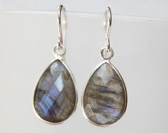 Labradorite Earrings - Sterling Silver Bezel Set Drop Earrings Faceted Labradorite Stones Pear Cut Dangle Earrings