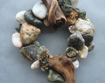 Green Rock Wreath or Candle Ring With Driftwood-RW360