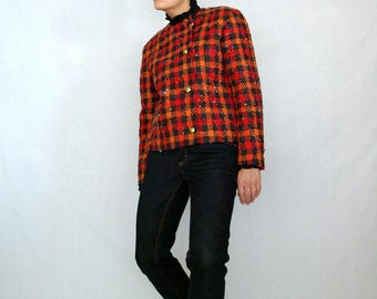 jewel tone houndstooth 90s  jacket - 1211279