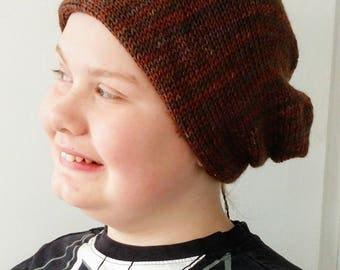 Chocolate Brown Bandana Hat - Knitted - Wool Silk Blend - Soft