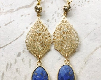 Lapis Lazuli Gold Paisley Earrings by MinouBazaar