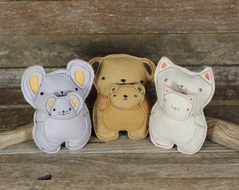 handmade wool felt plush pals with babies:  by kata golda